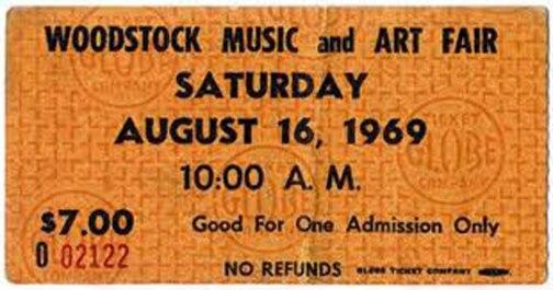 Woodstock Concert Ticket